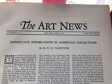 The Art News-Important Rembrandts In American Collections-Valentiner-hardbound