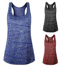 Womens Sleeveless Yoga Fitness Vest Tank Tops Blouse Sport Gym Workout Shirt Tee
