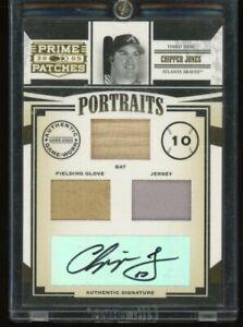 2005 Donruss Prime Patches Portraits Chipper Jones HOF Jersey Bat AUTO 1/5