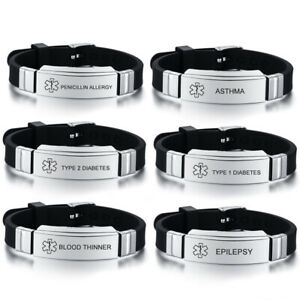 Medical Alert ID Men's Bracelet Asthma Diabetes Type 1 2 Epilepsy Blood Thinner