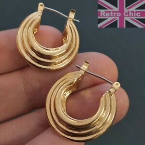 2cm CREOLE HOOPS bamboo OVAL HOOP EARRINGS textured gypsy creoles GOLD FASHION