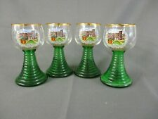 "4 x Glasses - Green Ribbed Stem and Foot - Clear Bowl ""Trier Porta Nigra"""