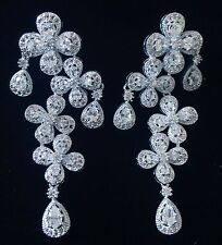 EARRING using Swarovski Crystal Dangle Drop Wedding Bridal Rhodium Silver CZ61