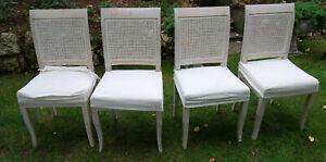 gustavianisch 4 Stühle Geflecht weiß gewischt  (2)