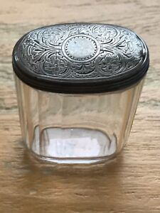 Antique Silver Lided Glass Vanity Jar Victorian 1820