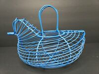 Wire Chicken Hen Egg Basket Rustic Primitive  Farmhouse Decor - Blue - Vintage