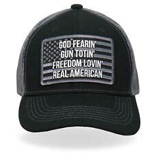 God Fearin Gun Totin Freedom Lovin Real American Patriotic Trucker Hat GSH1032