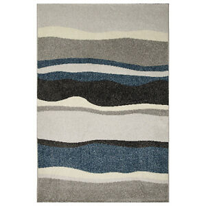 Olivo.Shop, Art Waves blue tappeto arredo moderno per salotto, camera, studio