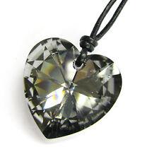 Swarovski Elements Crystal 28mm Love Heart Pendant 1mm Black Leather Necklace