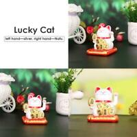 Chinese Lucky Cat Wealth Waving Shaking Hand Fortune Welcome Craft Gift(White)