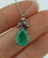 Vintage Platinum, 4CT Emerald and Diamond Flower Blossom Pendant Necklace