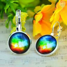 COSMIC UNIVERSE EARRINGS SILVER PLATE Glass DOME CABOCHON Leverback NEW in BOX