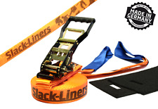 4 pezzi Slackline-SET - 50mm-larga 25m lungo Arancione-Made in Germany