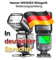 Neewer NW-565EX C+N NW Blitzgerät Bedienungsanleitung  in deutsch zum Download!
