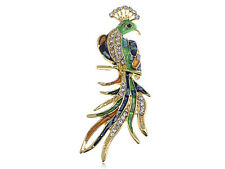 Gold Sea Shell Painted Crystal Phoenix peacock bird Pin Brooch hat bag clip gift