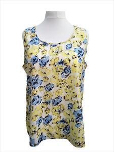 Womens Plus Size Tunic Top Sleeveless Vest-type Lemon/Blue Floral Silk Poly NEW