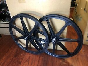 SKYWAY 24 INCH TUFF MAG WHEEL SET BLACK BMX BIKE TUFFS MAGS WHEELS RETRO 24""