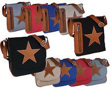 Stern Tasche Damentasche Handtasche Schultertasche Canvas+Lederoptik 2 Modelle