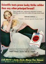 1950 Marlene Dietrich photo Lucky Strike cigarettes vintage print ad