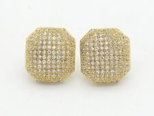 New Gold Plated Sterling Silver 925 Bulgy Square CZ 1/2' Inch Stud Earrings