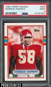 1989 Topps Traded Football #90T Derrick Thomas Chiefs RC Rookie PSA 9 MINT