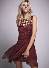 NEW Free People Special Edition wine plum Sequin Cage Swingy Mini Dress S