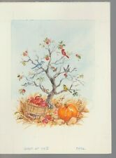 "PUMPKIN APPLES TREE & BIRDS 7x9.5"" #7932 Thanksgiving Greeting Card Art"
