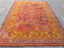 Antique hand made européenne Donegal? Oushak laine orange grand tapis 296x220cm