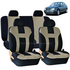 BEIGE & BLACK DOUBLE STITCH SEAT COVERS 8PC SET for VW JETTA PASSAT