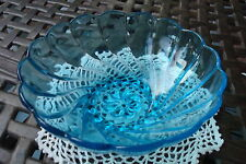 Vintage Blue Glass Berry Salad Serving Bowl Scallop Swirl Design [10-2]