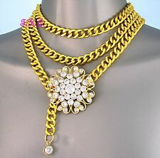 Ethnic Belly Dance, Dancing Chic Crystal Flower Clasp, Gold Chain Necklace Belt