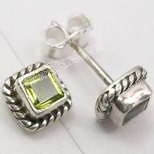 "925 Sterling Silver Genuine PERIDOT Studs Earrings 0.3"""