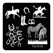 Manicure Template Nail Stamping Plates Zebra Horse DIY Nail Tools TU10