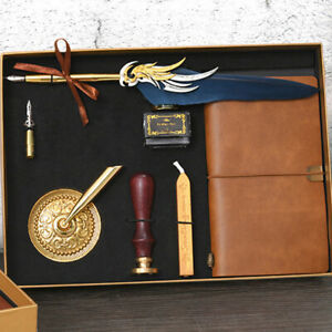 Retro Vintage Feather Dip Pen Writing Ink Wax Seal Stamp Set Quill Pen Gifts Box