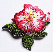 Embroidered Iron-On Applique Open Rose, 3 x 2+1/2 inch