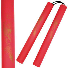 12''  Rubber Foam Nunchucks Nunchaku Red  w Dragon Graphic