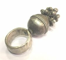 ANTIQUE ETHNIC TRIBAL OLD SILVER RING BELLY DANCE INDIA