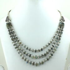 NECKLACE NATURAL LABRADORITE GEMSTONE BEADED BEAUTIFUL 52 GRAMS