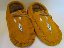 TRADITIONAL NORTHERN NATIVE MOCCASINS 10 INCH DIAMOND BEADING, DOUBLE SOLE, TIES