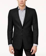 $599 CALVIN KLEIN Mens Slim Fit Blazer Black Textured SUIT JACKET SPORT COAT 36S