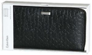 Calvin Klein CK Leather Zip Around CK Logo RFID Wallet Organizer Purse 74287 NEW