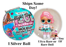 LOL Surprise SILVER Holiday Present Ball Ultra Rare Or Rare Doll & Tiny Elf NEW