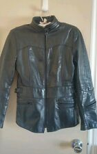 Womens Vtg BRIMACO Leather Jacket sz 14 / Small Cafe Racer EUC