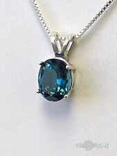 925 Sterling Silver pendant created 3 ct. Topaz London blue Necklace Jewelry. @