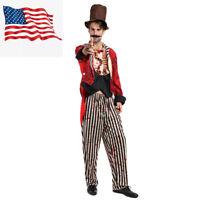 Men's Bloody Circus Animal Trainer Cosplay Halloween Zombie Magician Costume US