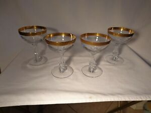 4 TIFFIN GLASS 17594 CRYSTAL ETCHED ANTOINETTE (AKA BOUQUET) GOLD 6 OZ CHAMPAGNE