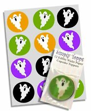 12 Halloween Ghost Cupcake Dekoration Essbare Torten-abdeckung Vorschnitt 40mm