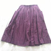 Vintage Land's End Red Blue Plaid Skirt With Large Pockets 100% Cotton Sz 14 EUC