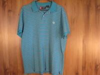 Chaps mens polo shirt size Large Light Blue with stripes
