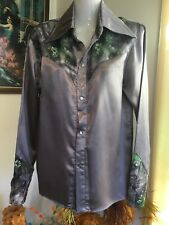 Vintage 70s Rockabilly Country Western Cowgirl costume show glam satin Shirt M